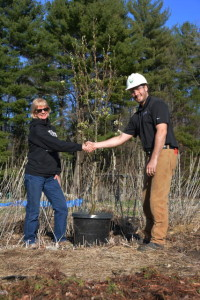 Tree planting in Auburn, NH in honor of Mike Bartlett, the retiring president of the New Hampshire Audubon Society.